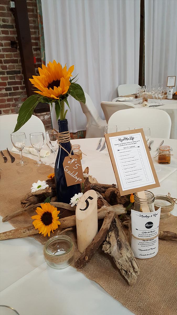 centre de table champêtre-centre de table bois-molkky décoration-jute-entr-e2